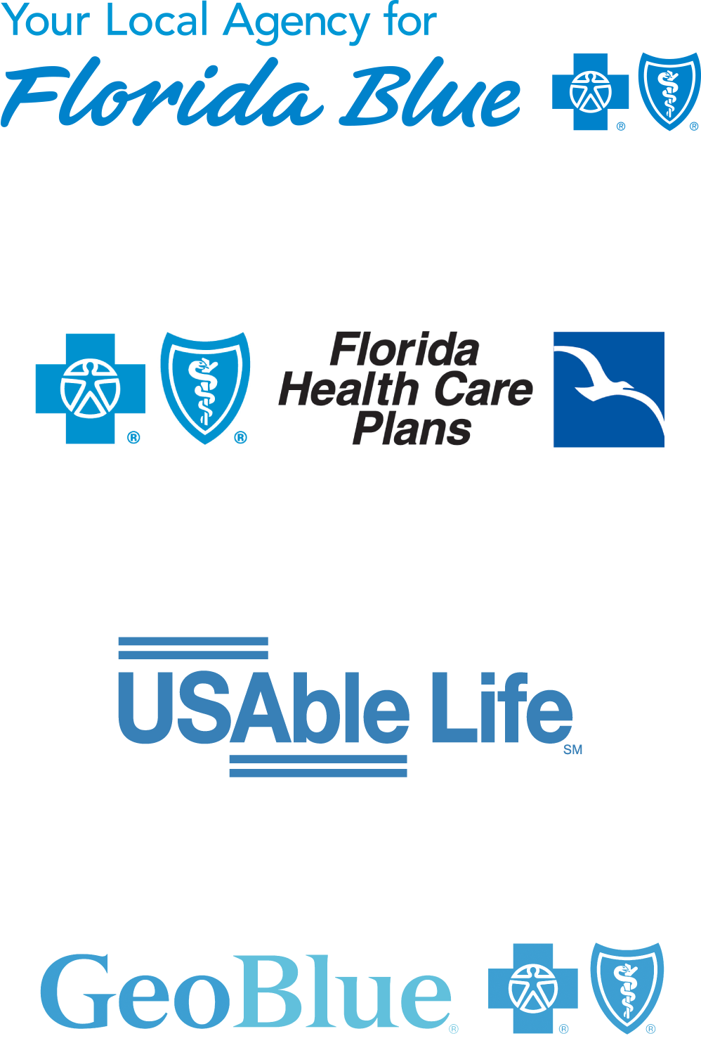 Sunsure - Vendor Logos - Your Local Agency for Florida Blue - Florida Health Care Plans - USAble Life - GeoBlue